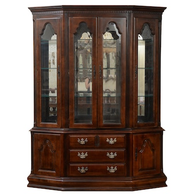 Keller American Colonial Style Walnut-Stained China Cabinet