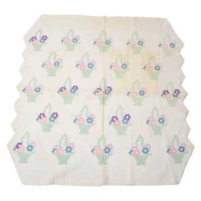Hexagonal Flower Basket Design Twin Sized Quilt