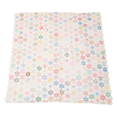 """Handmade """"Hexagonal Star"""" Pieced Quilt, Early to Mid-20th Century"""