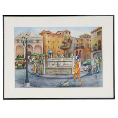 "Joan Fistick Watercolor Painting ""Italy"""
