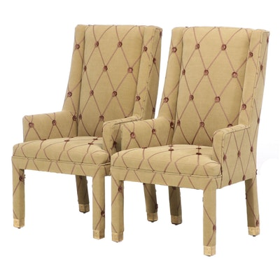 Pair of Contemporary Lattice-Upholstered Armchairs