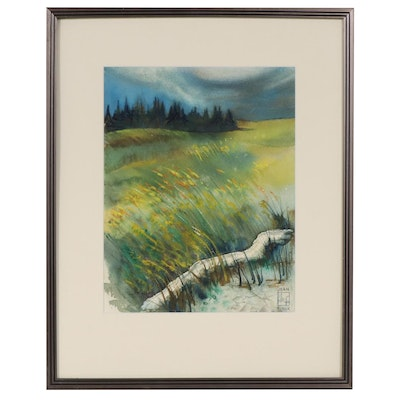 "Joan Fistick Watercolor Painting, ""Weather"""