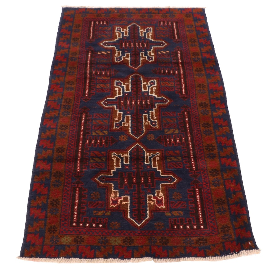 2'9 x 4'10 Hand-Knotted Afghan Baluch Accent Rug, 2000s