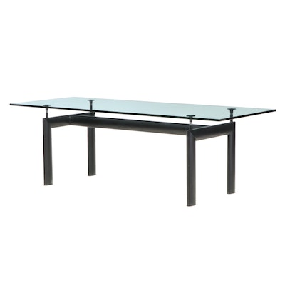 Le Corbusier Style Modernist Glass Top Dining Table with Black Metal Base
