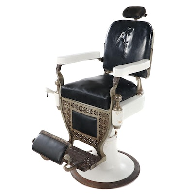 Theo A. Kochs Iron, Porcelain and Vinyl Barber's Chair, circa 1920