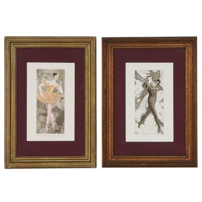 Hand-Colored Etchings with Aquatint of Theatrical Costume Designs