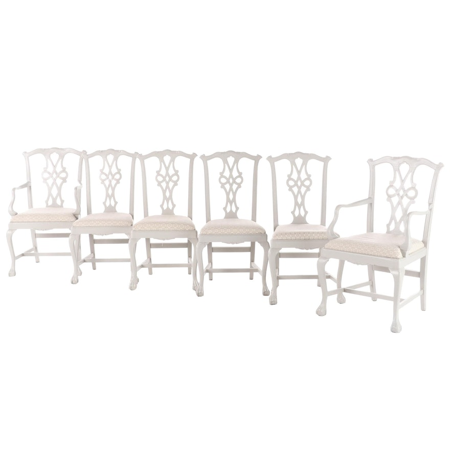 Six Chippendale Style Gray-Painted Dining Chairs, 20th Century