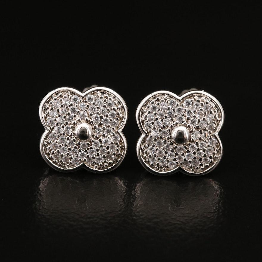 Sterling Cubic Zirconia Quatrefoil Flower Earrings