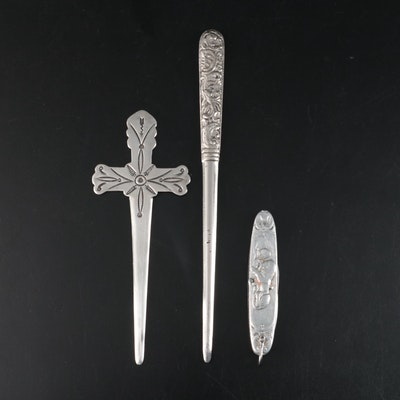"""William Tell/Lion of Lucerne"" Pocket Knife, Sterling and Other Letter Openers"
