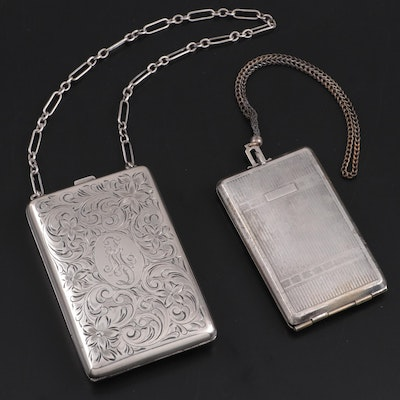 Watrous Mfg. Co. Chased Sterling Silver Coin Purse with Other Metal Compact