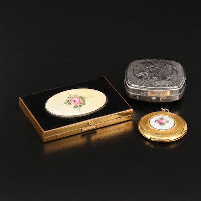 Vintage Locket and Compacts Featuring Floral and Faerie Designs
