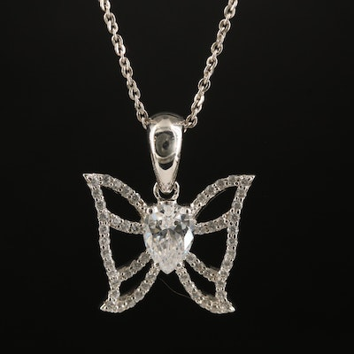 Sterling Cubic Zirconia Butterfly Pendant Necklace