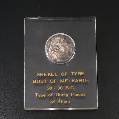 Ancient Phoenicia, Tyre AR Shekel Coin, Mentioned in Bible, ca. 30 B.C.