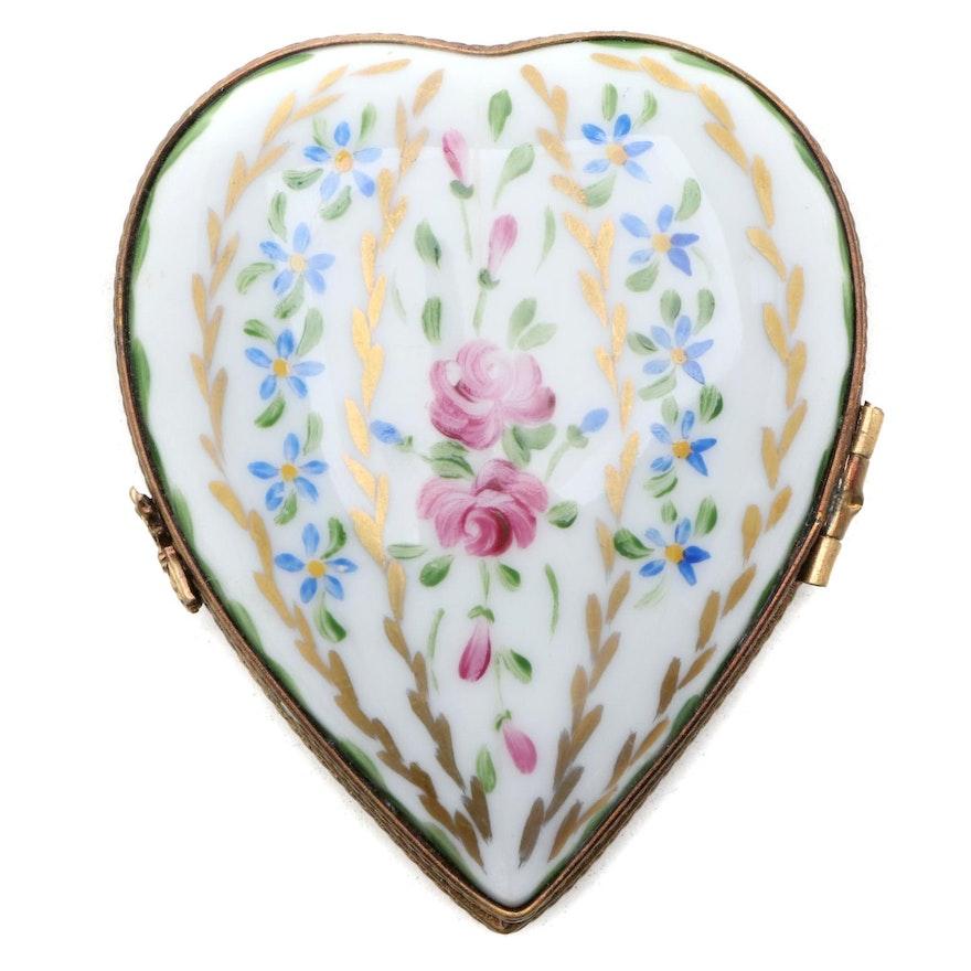 Hand-Painted Floral Heart Porcelain Limoges Box