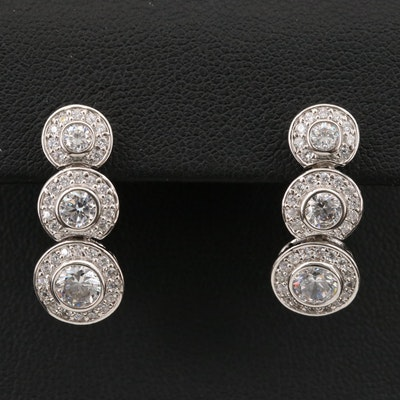 Sterling Graduated Bezel Cubic Zirconia Earrings