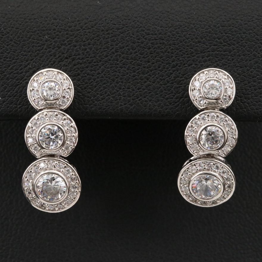 Sterling Graduated Bezel Cubic Zirconia Earrings