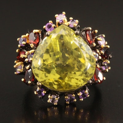 Sterling Silver Citrine, Garnet and Amethyst Ring