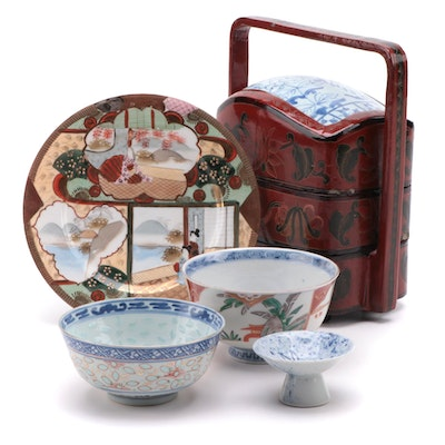 Chinese Porcelain and Lacquerware Wedding Box with Bowls and Plate