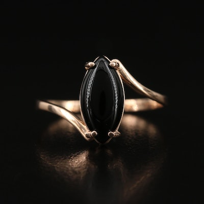 14K Black Onyx Bypass Ring