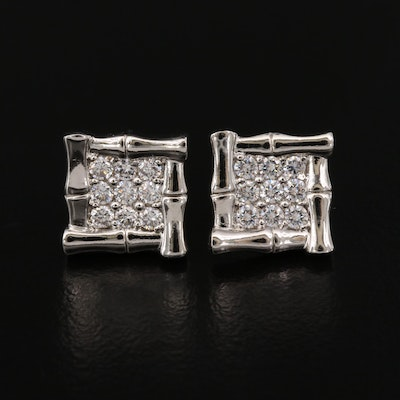 Sterling Silver Cubic Zirconia Bamboo Style Earrings