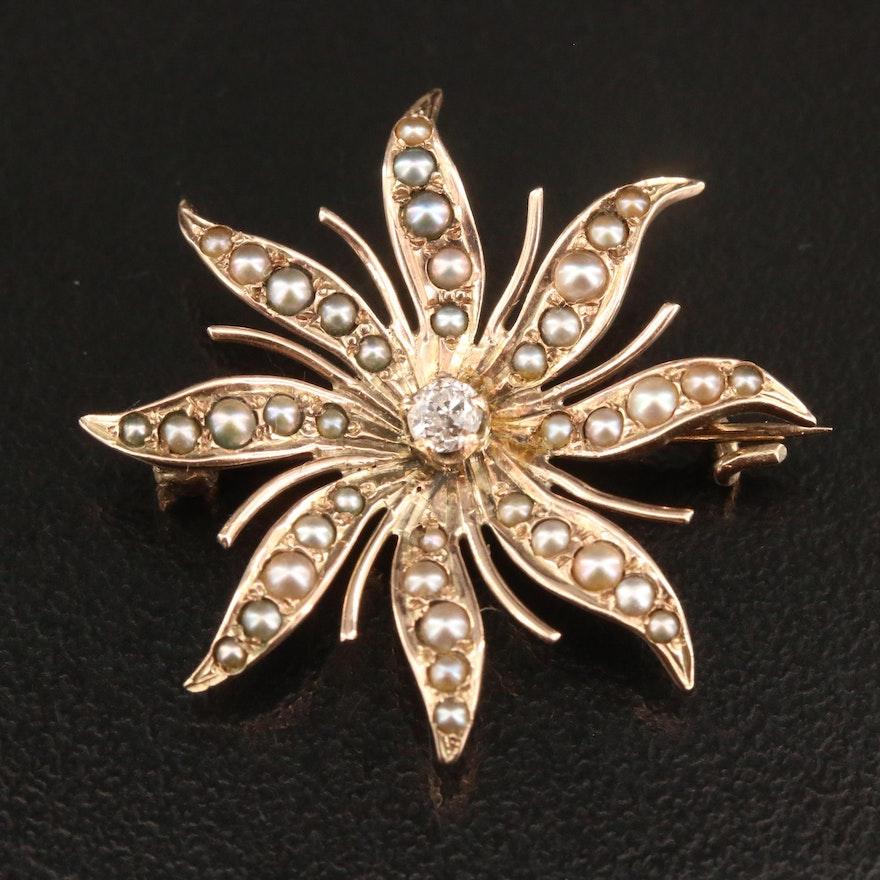 Circa 1890 10K Diamond and Pearl Sunburst Converter Brooch