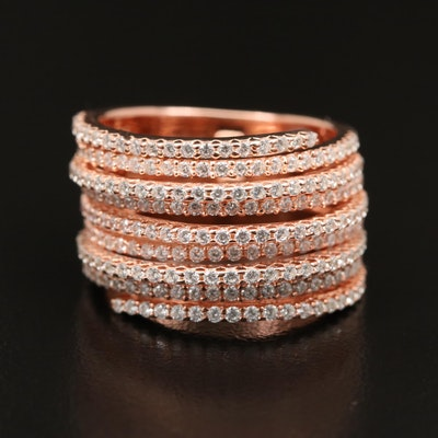 Sterling Cubic Zirconia Articulated Multi-Row Band