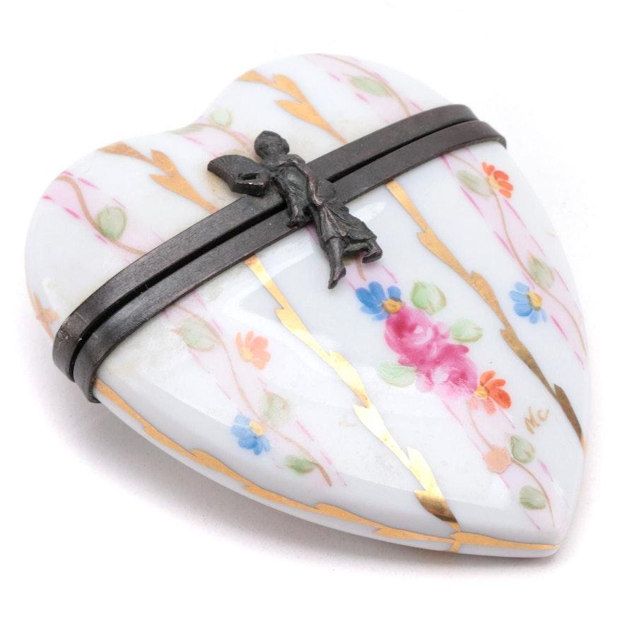 Rochard Hand-Painted Porcelain Heart Limoges Box