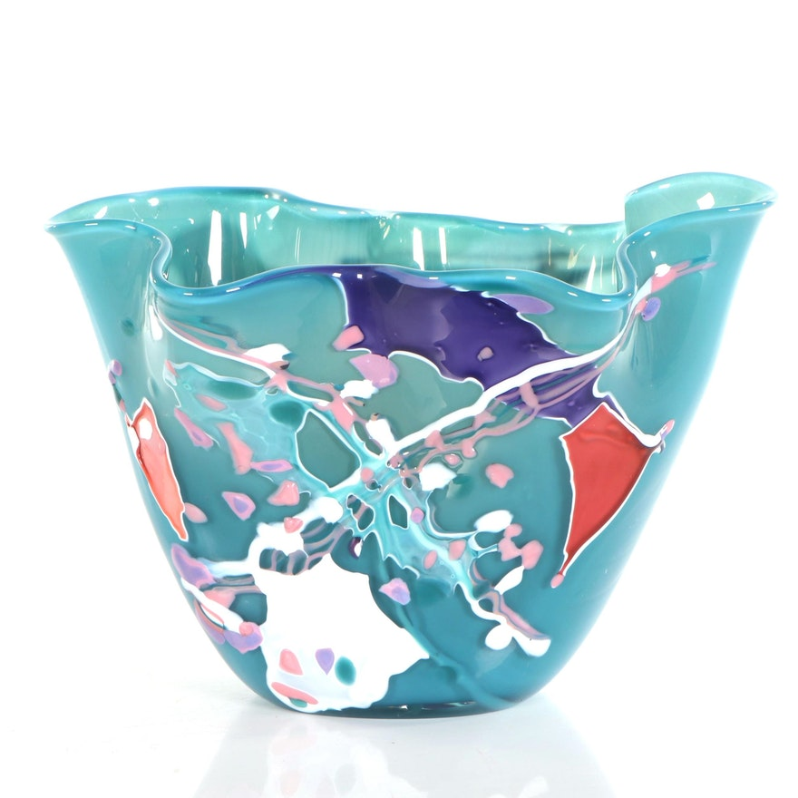Stephen Rich Nelson Free Form Art Glass Vase, 1993