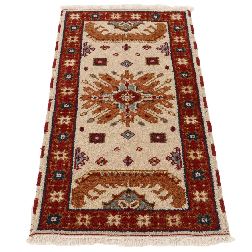 2'2 x 4'2 Hand-Knotted Indo-Caucasian Kazak Accent Rug, 2010s