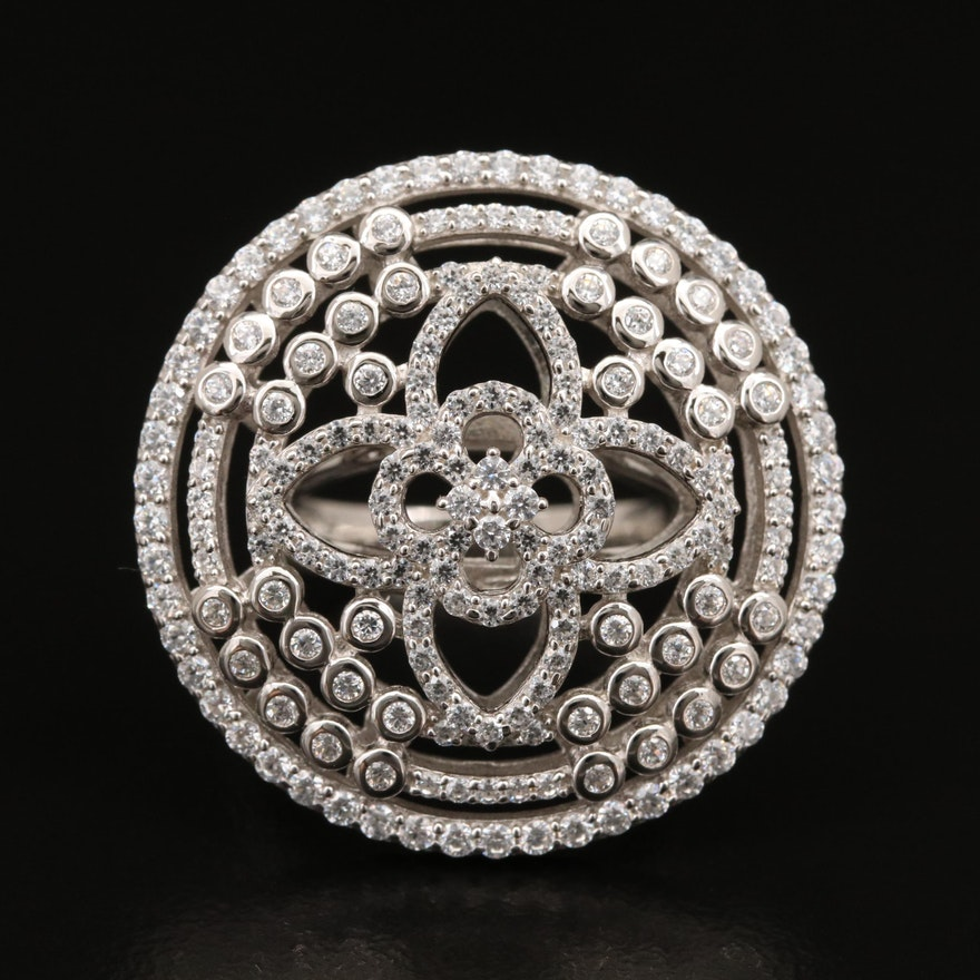 Sterling Cubic Zirconia Quatrefoil Ring