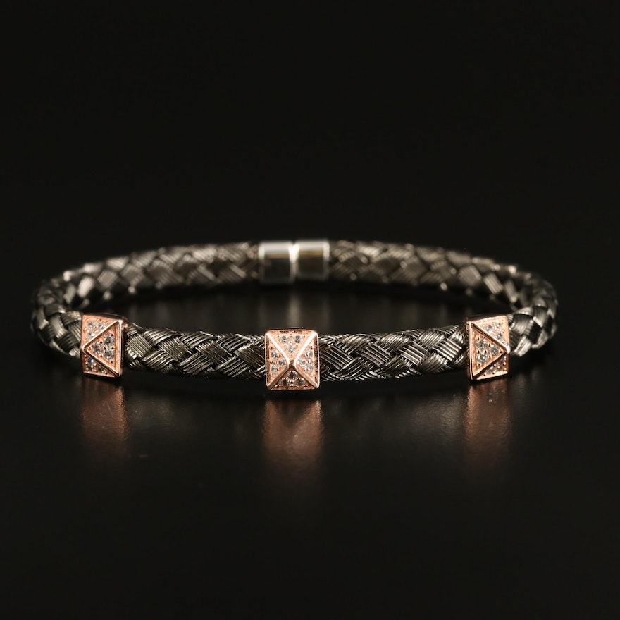 Woven Bracelet with Sterling Cubic Zirconia Stations