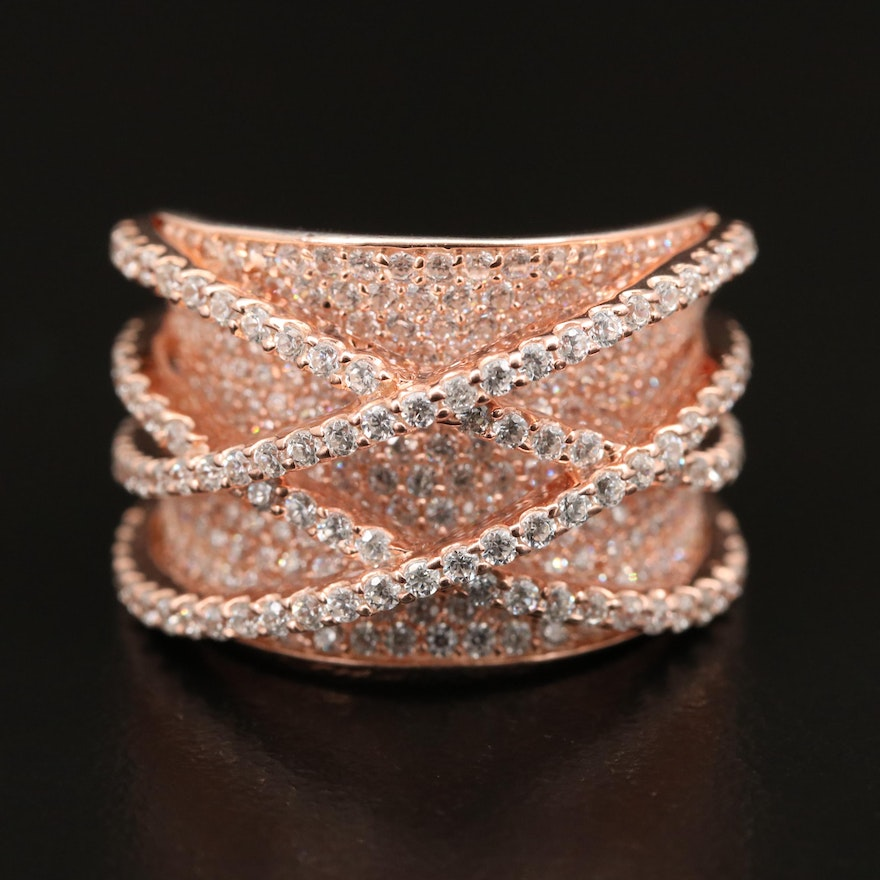 Sterling Pavé Cubic Zirconia Crisscross and Concave Ring