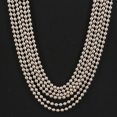 Sterling Silver Multi-Strand Bead Chain Necklace