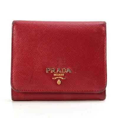 Prada Red Saffiano Leather Bifold Flap Wallet