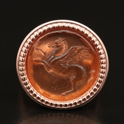 Sterling Glass Pegasus Intaglio Ring