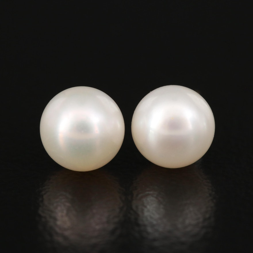 10K Button Pearl Stud Earrings