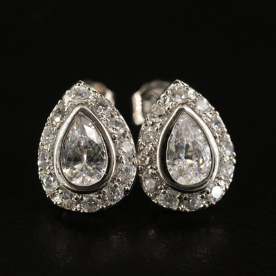 Sterling Cubic Zirconia Teardrop Stud Earrings