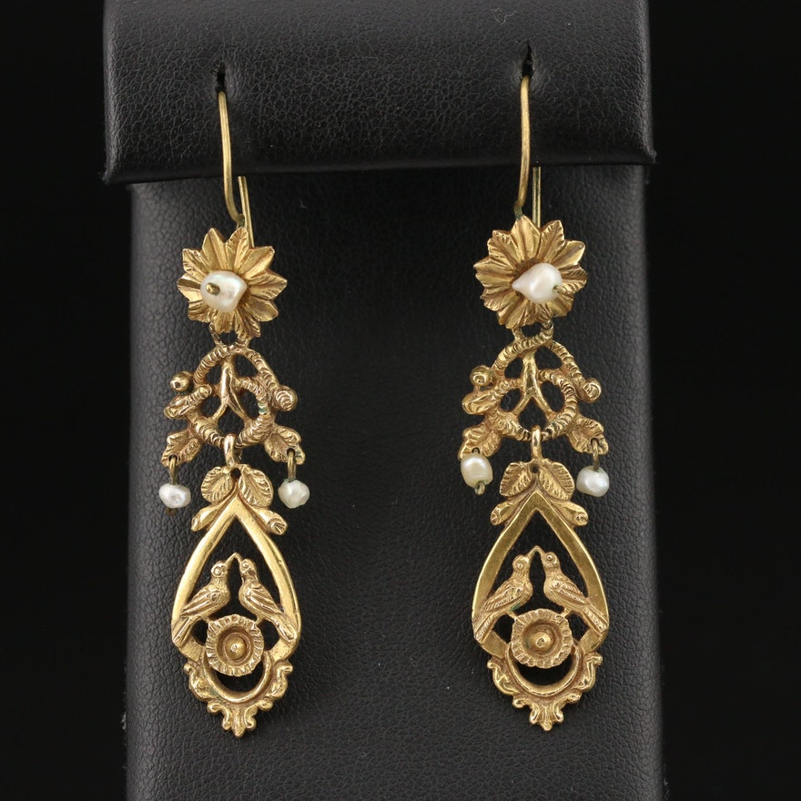 Victorian Revival 14K Pearl Dangle Earrings