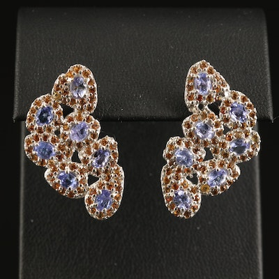 Sterling Tanzanite and Sapphire Biomorphic Cluster Earrings