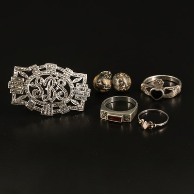 Sterling Jewelry Featuring Claddagh Ring and Monogram Brooch