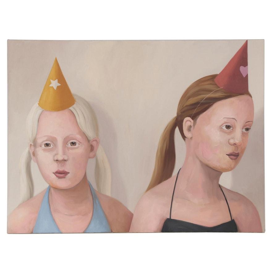 "Deborah Hamon Oil Painting ""Unicorns,"" 2003"