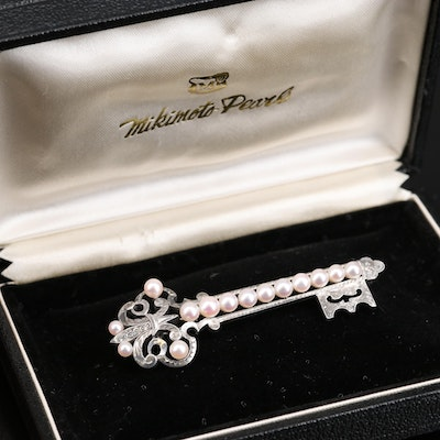 Vintage Mikimoto Sterling Pearl Brooch with Box
