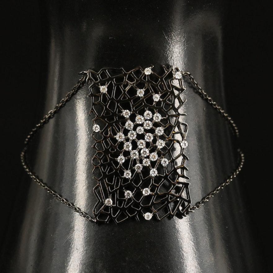Sterling Cubic Zirconia Openwork Panel Bracelet