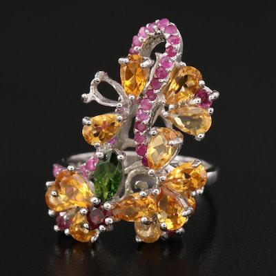 Sterling Floral Cluster Ring