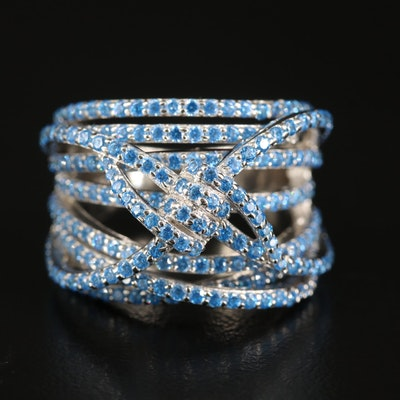 Sterling Cubic Zirconia Knotted Crossover Ring
