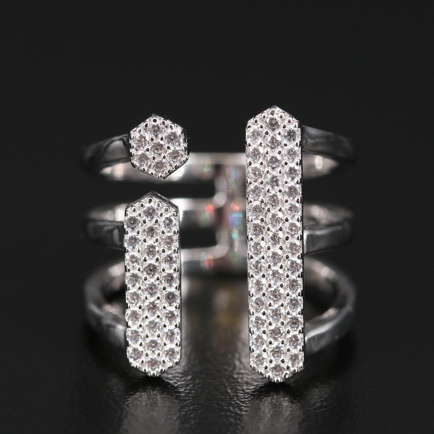 Sterling Silver Cubic Zirconia Torque Ring