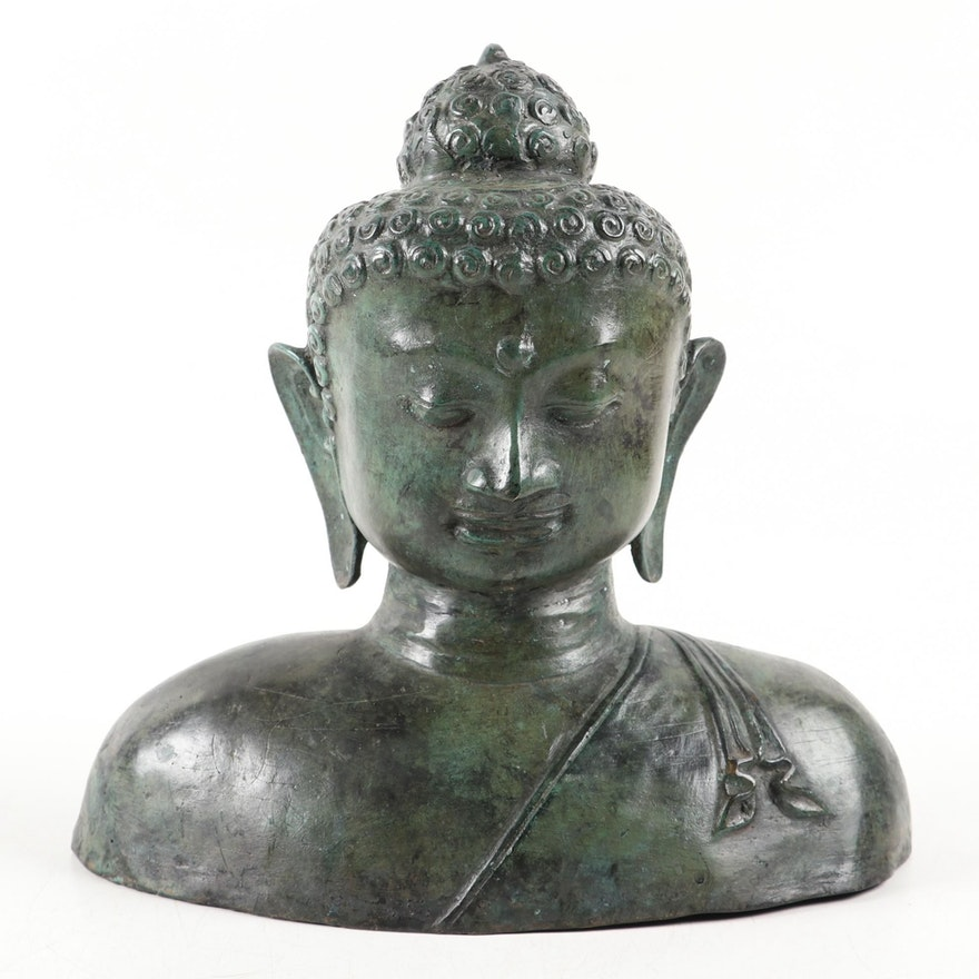 Patinated Verdigris Metal Meditating Buddha Garden Statuette