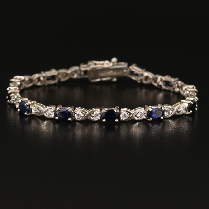 Sterling Sapphire and Cubic Zirconia Line Bracelet