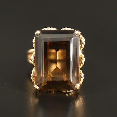 14K 46.06 CT Smoky Quartz Ring