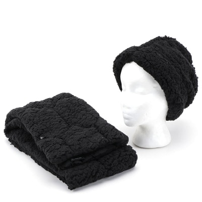INC International Concepts Black Faux Shearling Beanie and Scarf Set